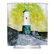 Berwick Lighthouse As Graphic Art. Shower Curtain