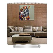 Besaw Art Hand-painted Oil Painting On Canvas Abstract Style Modern Wall Art Animal Painting Zebra Shower Curtain