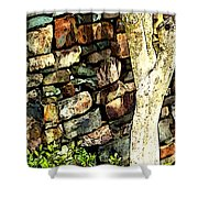 Beside The Wall Shower Curtain