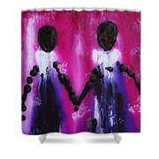 Best Friends Forever - Bff Love And Devotion Art Shower Curtain by Sharon Cummings