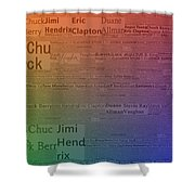Best Guitarists Typography Shower Curtain