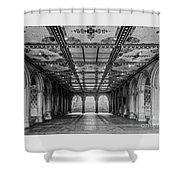 Bethesda Terrace Arcade 3 - Bw Shower Curtain