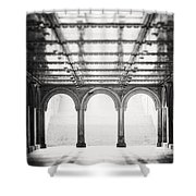 Bethesda Terrace In Black And White Shower Curtain