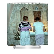 Bethlehem - Milk Grotto Church Lighting Candles Shower Curtain