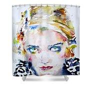 Bette Davis - Watercolor Portrait Shower Curtain