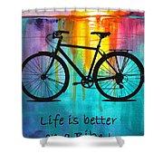 Better On A Bike Shower Curtain