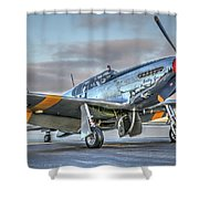 Betty Jane P51d Mustang At Livermore Shower Curtain