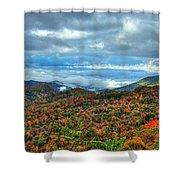 Between The Clouds Blue Ridge Parkway North Carolina Art Shower Curtain