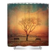 Between Two Benches Shower Curtain