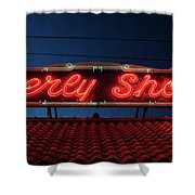 Beverly Shores Indiana Depot Neon Sign Panorama Shower Curtain