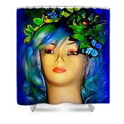 Beverlys Blue Butterflys Shower Curtain