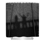 Beware Of The Shadows Black And White Shower Curtain