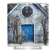 Beyond The Blue Door Pencil Shower Curtain