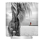 Beyond The Ice Reaper's Grasp -  Menominee North Pier Lighthouse Shower Curtain