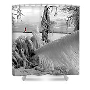 Beyond The Icy Gate - Menominee North Pier Lighthouse Shower Curtain