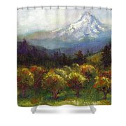 Beyond The Orchards Shower Curtain by Talya Johnson