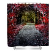 Beyond The Red Leaves Shower Curtain