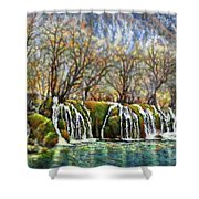 Beyond The Snowy Mountains Shower Curtain