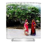 Bff Best Friends Pregnant Women Portrait Village Indian Rajasthani 1 Shower Curtain