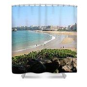 Biarritz Beach Panorama Shower Curtain