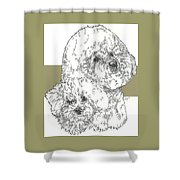 Bichon Frise And Pup Shower Curtain