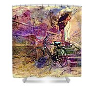 Bicycle Abandoned In India Rajasthan Blue City 1a Shower Curtain