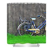 Bicycle And Gray Fence Shower Curtain