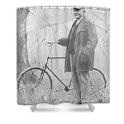 Bicycle And Jd Rockefeller Vintage Photo Art Shower Curtain