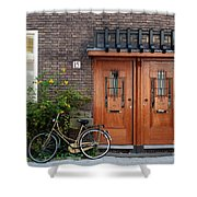 Bicycle And Wooden Door Shower Curtain