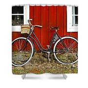 Bicycle In Front Of Red House In Sweden Shower Curtain