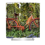Bicycle In The Garden Shower Curtain