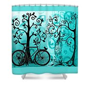 Bicycle In Whimsical Forest Shower Curtain