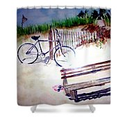 Bicycle On The Beach Shower Curtain