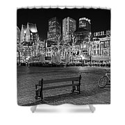Bicycle On The Plein At Night - The Hague  Shower Curtain