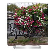 Bicycle Parked At The Bridge In Amsterdam Shower Curtain