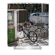 Bicycle Parking And Smoking Station In Tokyo Japan Shower Curtain