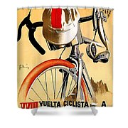Bicycle Race, Catalonia, Vintage Travel Poster Shower Curtain