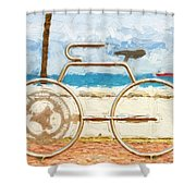 Seaside Bicycle Stand Shower Curtain
