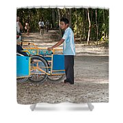 Bicycle Taxi Inside The Coba Ruins  Shower Curtain