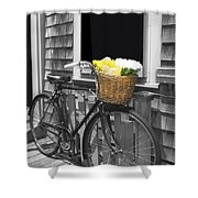 Bicycle With Flower Basket Shower Curtain