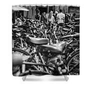 Bicycles Amsterdam Black And White Shower Curtain