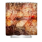 Bicycles In Amsterdam Shower Curtain by Richard Anderson