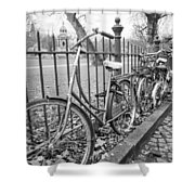 Bicycles Parked At Fence On Street, Netherlands Shower Curtain