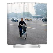 Bicyclist In Beijing Shower Curtain
