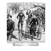 Bicyclist Meeting, 1884 Shower Curtain