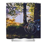 Bicyles By The Lake  Shower Curtain