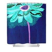 Big Aqua Flower Shower Curtain