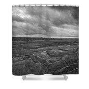 Big Badlands Overlook Panorama 2 Bw Shower Curtain