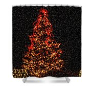 Big Bear Christmas Tree Shower Curtain