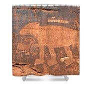 Big Bear Petroglyph Shower Curtain